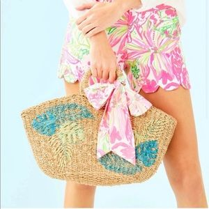 Lilly Pulitzer Natural Flora Straw tote
